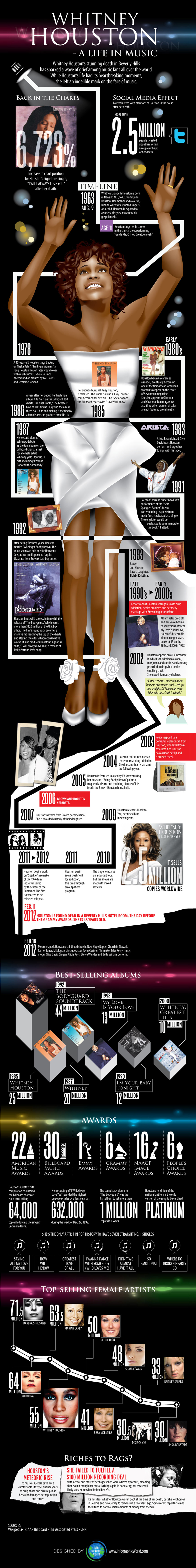 Whitney Houston - A Life in Music Infographic