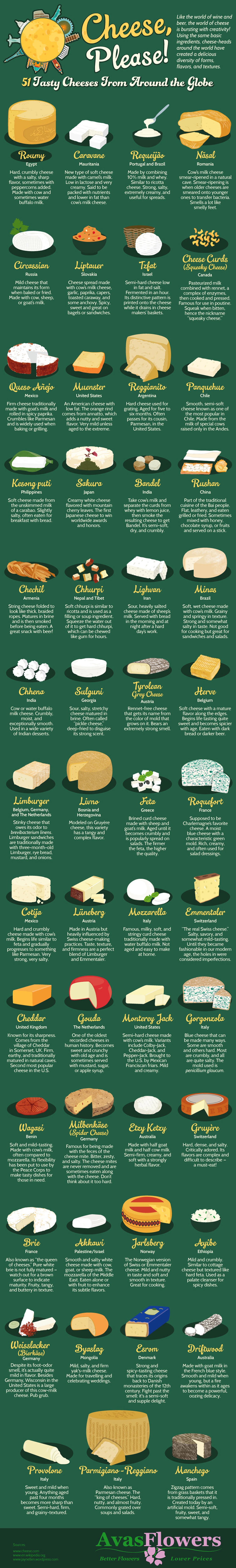 51 Tasty Cheeses from Around the World Infographic