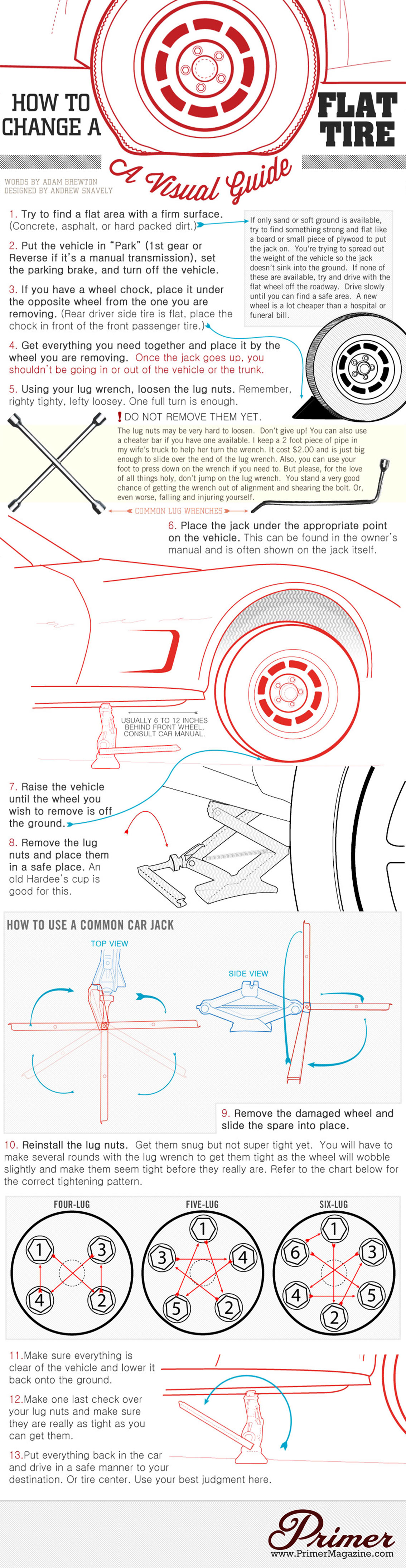 How to Change a Flat Tire on a Car Infographic