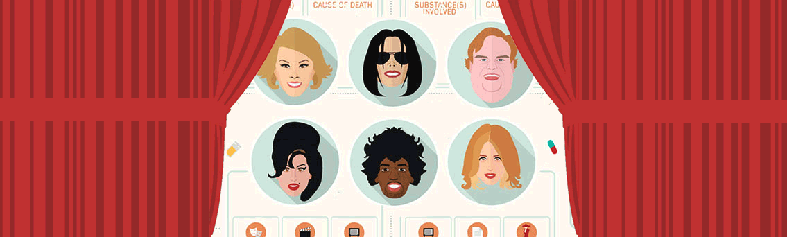 List of Celebrities Died From Drug Overdose Infographic