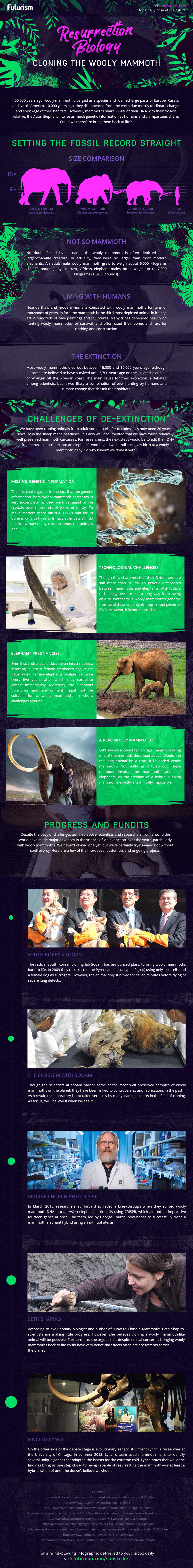 Resurrection Biology Cloning Woolly Mammoth infographic