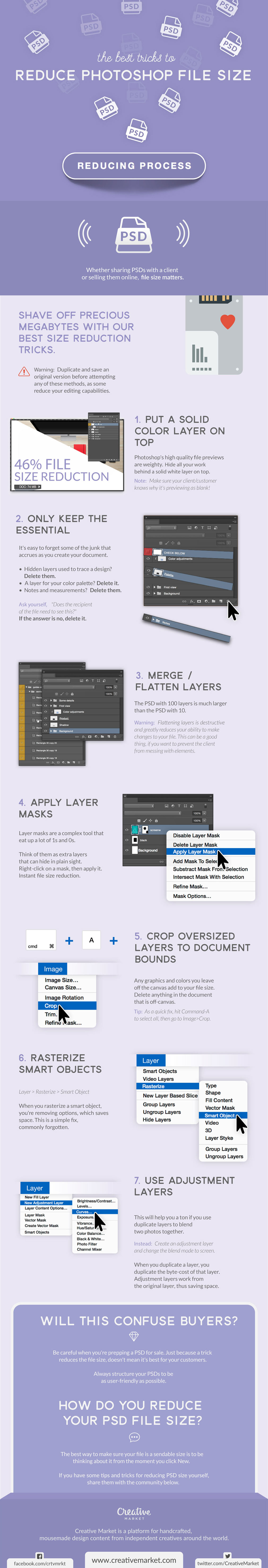 How to Reduce PSD File Size - Photoshop Infographic