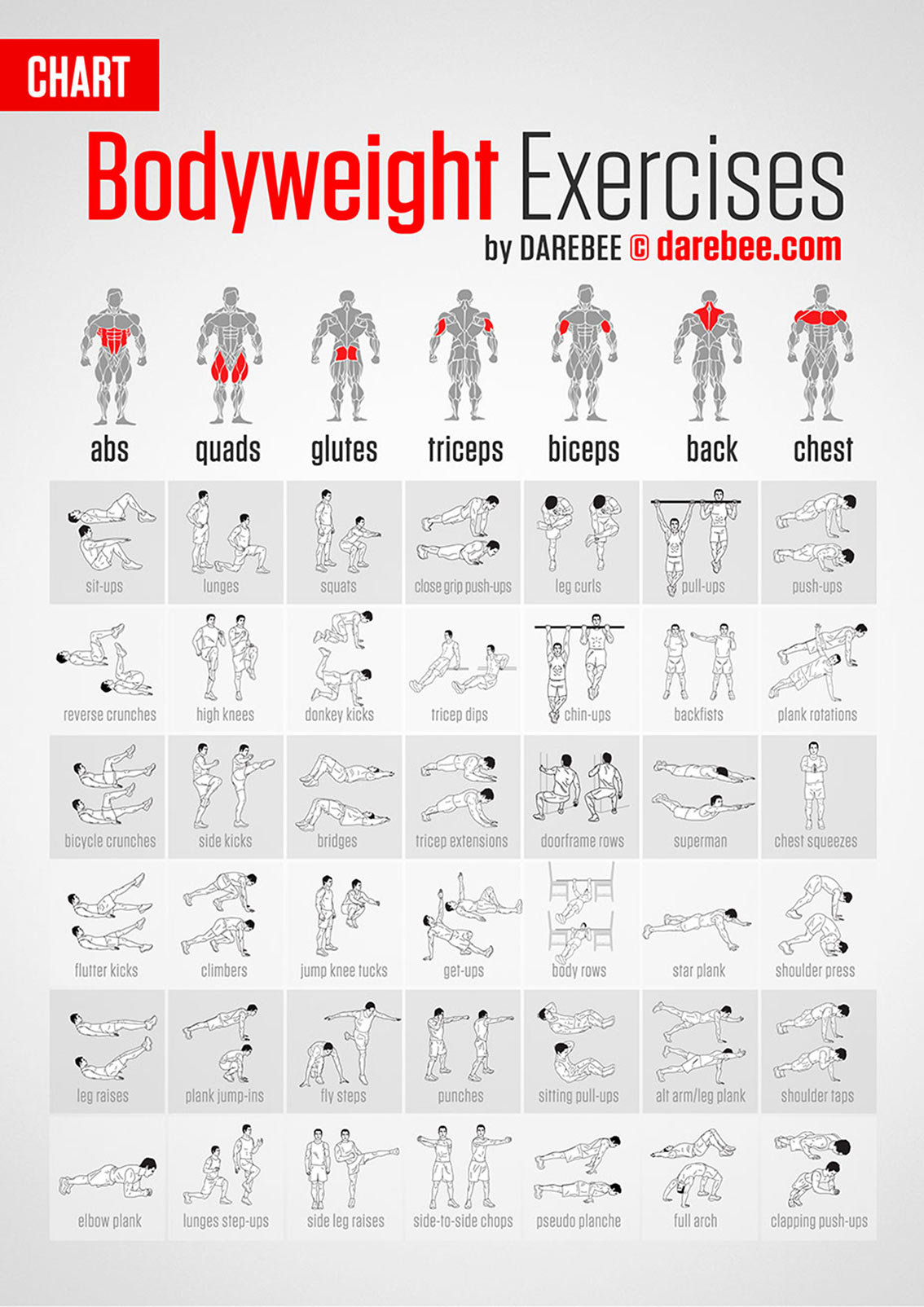 List of Bodyweight Exercises Infographic