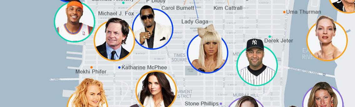 Celebrities Living in New York City Infographic