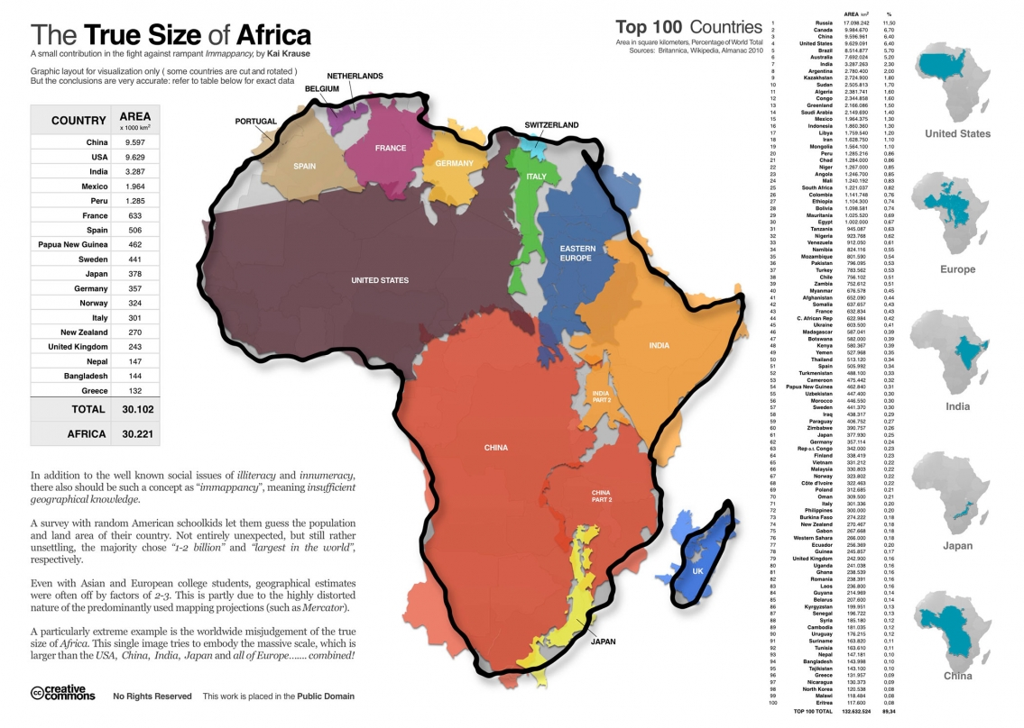 The True Size Of Africa Infographic