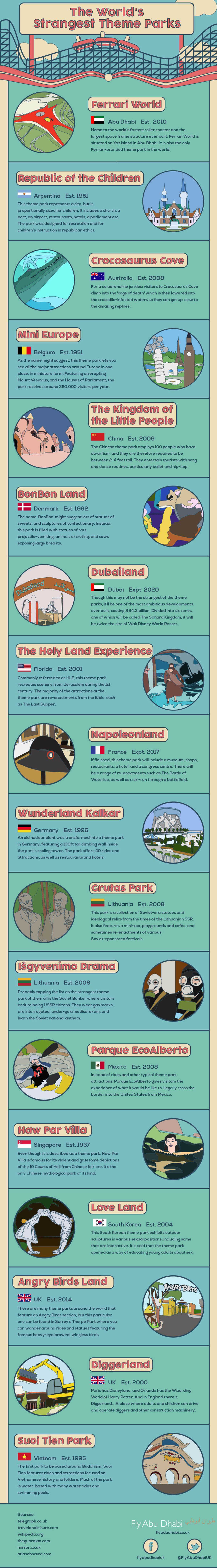 Weird Theme Parks Around the World - Travel Infographic