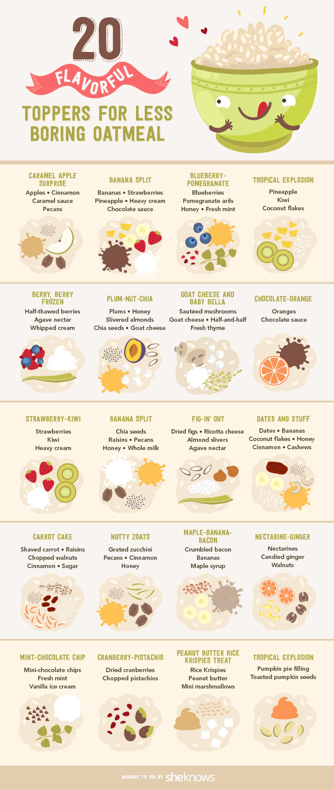20 Best Toppings for Oatmeal Infographic